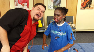 A messy student in the At-Home Zombie FX Class at Prosser Public Library