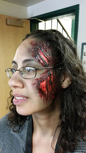Quick Halloween Burn Makeup at Prosser Public Library Makeup FX Class and Demo