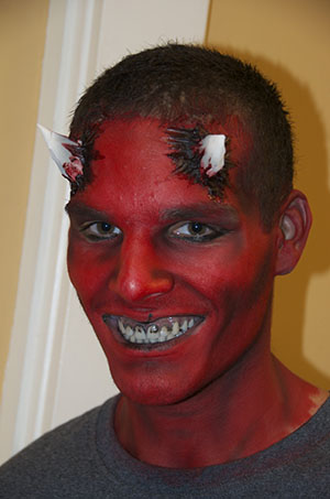 Basic Red Demon Makeup at local Library class