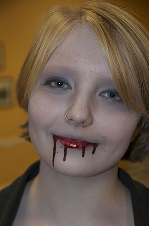 Easy Vampire Makeup at local Library class