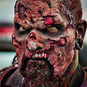 Zombie prosthetic makeup at Zombie Charge Texas 2014