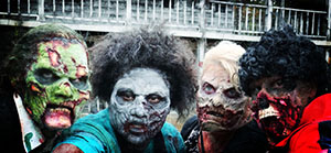 Four different zombie types at Zombie Charge New Hampshire 2014