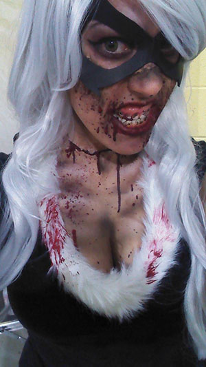 Black Cat Zombie makeup at Comic Con