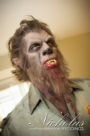 Werewolf makeup for Halloween themed wedding