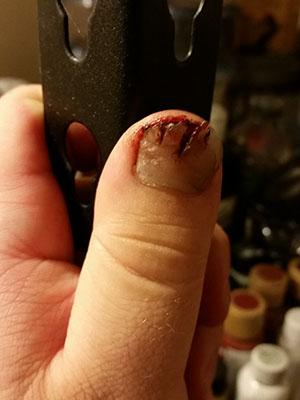 Broken thumbnail makeup