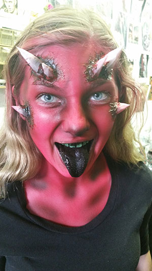 Demon makeup at The Only Scream In Town haunted house