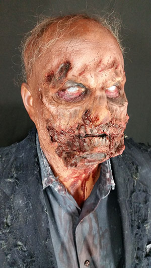 Zombie Father-Of-The-Bride makeup for Halloween themed wedding