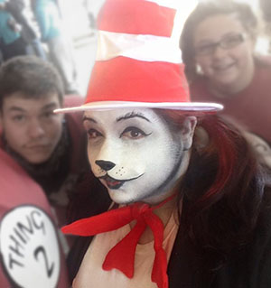 Cartoon style Cat in the Hat makeup