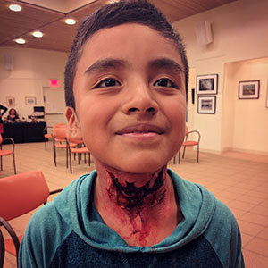 Prosthetic Neck Wound Demo for Local Library Halloween Makeup Class